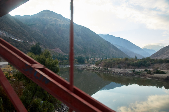 Crossing the Urubamba River in the Sacred Valley at around 3,100m/10,100ft